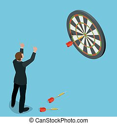 Businessman hitting the center of target. Aiming for a high target concept. Business idea concept. Flat 3d isometric vector illustration.
