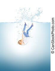 Woman falling into water