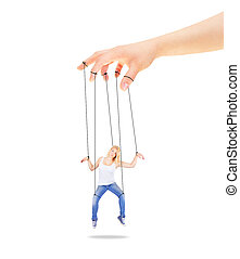 Girl being held by strings as a mar