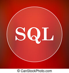 SQL icon Internet button on red background