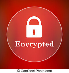 Encrypted icon Internet button on red background
