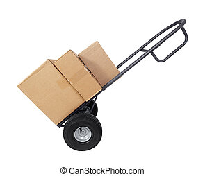 Dolly with Boxes - Large furniture dolly with brown shipping...
