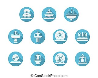 Round blue flat vector icons for fountains - Fountains...