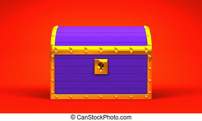 Purple Treasure Chest On Red Background. 3DCG render...