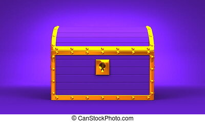 Purple Treasure Chest On Purple Background. 3DCG render...