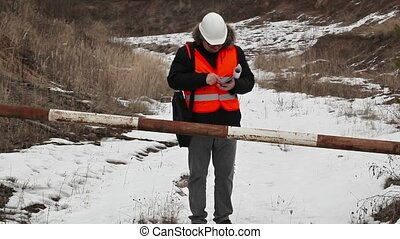 Engineer using tablet PC in career