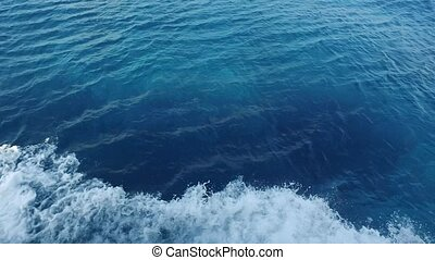 blue sea water with boat trace - travel, tourism, vacation...