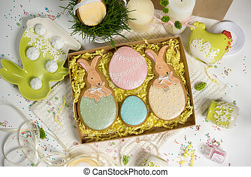 family holiday present box , easter honey-cakes, celebration spring design