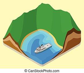 lagoon isometric. coastline vector. relief