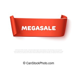 Red curved paper ribbon banner with rolls and text MegaSALE...