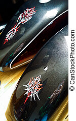 Pinstriped Motorcycle Tins - Pinstriped motorcycle tank and...