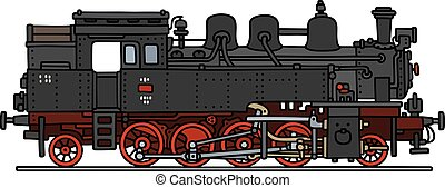 Classic steam locomotive - Hand drawing of a classic black...