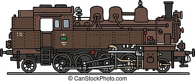 Brown steam locomotive - Hand drawing of a classic brown...