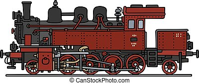 Red steam locomotive - Hand drawing of an old red and black...