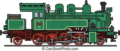 Green steam locomotive - Hand drawing of a vintage green...