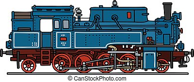 Blue steam locomotive - Hand drawing of a classic blue steam...