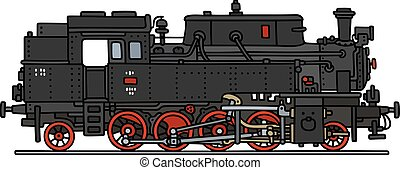 Classic steam locomotive - Hand drawing of a classic steam...