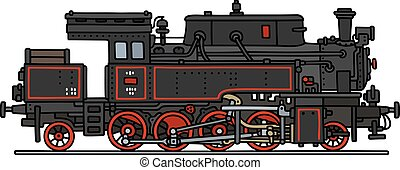 Vintage steam locomotive - Hand drawing of a vintage steam...