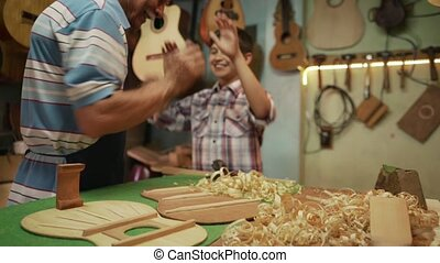 8-Senior Man Lute Maker Teaching Boy Chiseling Wood - Old...