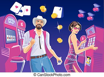 Interior casino with people. Lucky woman playing in slot machines. Lucky man with cowboy hat hold money. Design concept for gambling luck ans successful play.