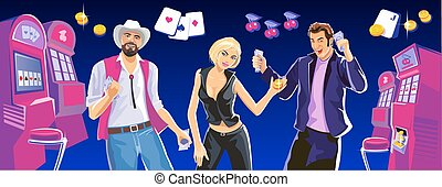 Lucky woman hold casino chips while spinning roulete. Lucky man hold money. Interior casino - slot machines, chairs, light projectors. Design concept for gambling luck ans successful play.