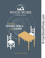 Furniture wood poster - Wooden furniture poster Isometric...