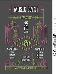 Music event poster template. Isometric speakers and...