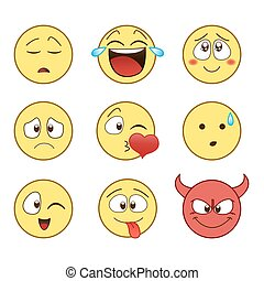 set of Emoticon - Cute Flat style smile face vector icons