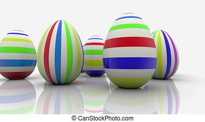Easter eggs with stripes on white