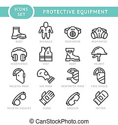 Set line icons of protecting equipment isolated on white...