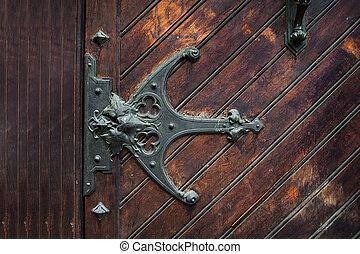 element of metal sheds on the wooden door