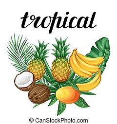 Background with tropical fruits and leaves. Design for...