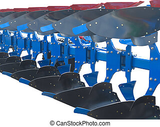 modern blue tractor plow row abstract isolated over white...