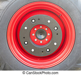 New tractor red tire wheel detail - New tractor red tire...