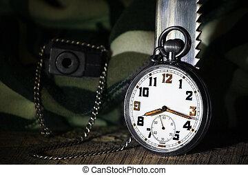 Pocket Watch with gun - Pocket watch with gun and knife,...
