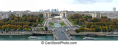 Panoramic and aerial view of the River Seine and Trocadero...