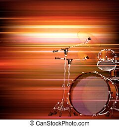 abstract grunge background with drum kit - abstract red blur...