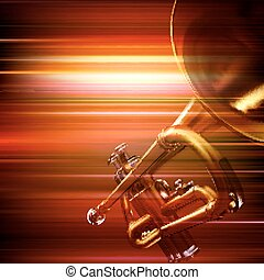 abstract grunge background with trumpet - abstract red blur...
