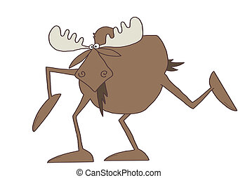 Long legged moose - Illustration of a long legged bull moose...