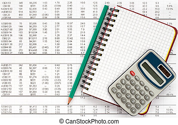 Notebook,pencil and calculator on financial statement