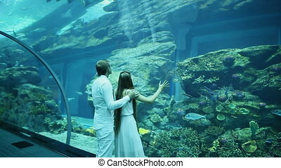 Girl and boy looking at fish tank at the aquarium. Dubai...
