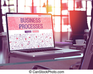 Laptop Screen with Business Processes Concept - Modern...