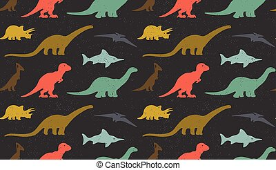 Dinosaurs silhouettes on white background Seamless pattern -...