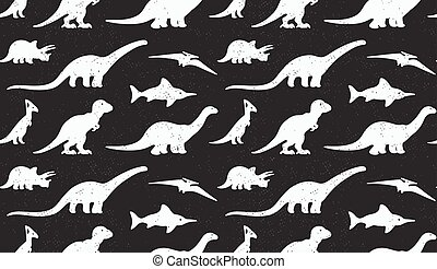 Dinosaurs white silhouettes on black background. Seamless...