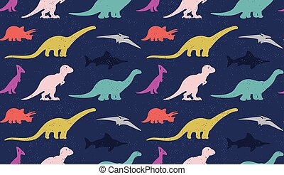 Dinosaurs silhouettes on white background. Seamless pattern...
