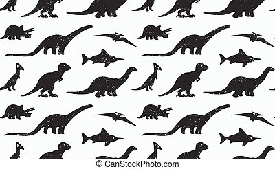 Dinosaurs black silhouettes on white background. Seamless...