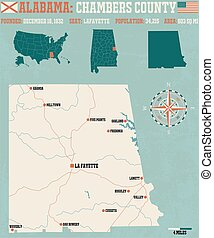 Chambers County in Alabama USA - Large and detailed map and...
