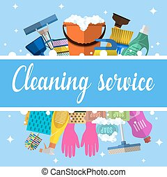 Cleaning service flat illustration. Poster template for...