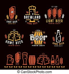 Craft beer brewery emblems, labels and design elements Color...