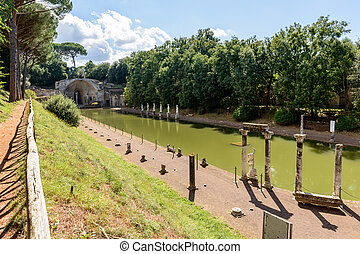 Ancient ruins of Villa Adriana, Tivoli, Italy - Ancient...